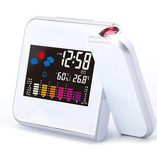 Wecker Digital Projektion Wecker Wetterstation mit Temperatur Thermometer Luftfeuchtigkeit Hygrometer Nachttisch Wake Up Projektor Uhr Weiß