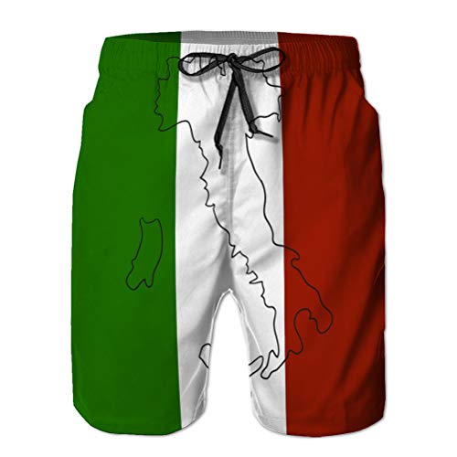 Boardshorts Men's Quick Dry Swim Trunks Beach Shorts Italy Map Flag Inside Lower XXL