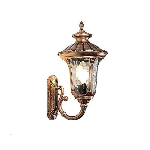 Maonb eenvoudige kop voor de tuin, buiten, 39 cm, lantaarn om op te hangen, buiten, gegraveerd, met glastextuur, zwarte buitenlamp, lantaarn, wandlamp, set met olie, gezicht, brons, zwart