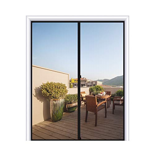 "MAGZO Magnetic Screen Door 72 x 96, Fiberglass Sliding Door Mesh Curtain with Heavy Duty Fits Door Size up to 72""x96"" Max-Grey"