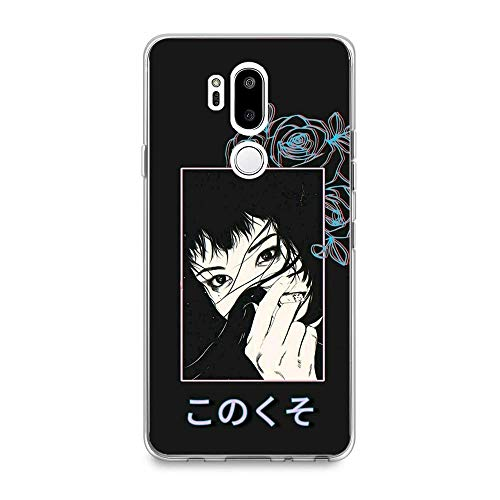 Sexeety Transparent Soft TPU Silicone HD Print Thin Coque Case for LG G7 ThinQ-Sailor-Saturn Moon Girl Cat 2