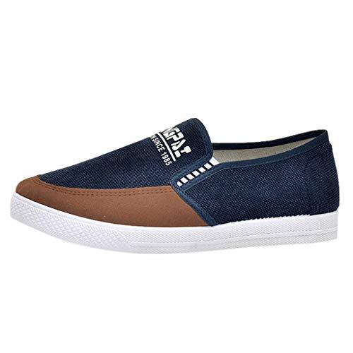 Lofer Bootschuhe Herren Segelschuhe Canvas Breathable Segeltuchschuhe Driving Schuhe Slip Freizeitschuhe Flache Schuhe Müßiggänger, Blau, 42 EU