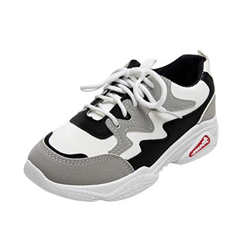 H.eternal(TM) Zapatos casuales cómodos para bebé, para niños y niñas, zapatos deportivos con cordones, zapatos casuales de moda, botines con puntera cerrada, zapatos para caminar, color Negro, talla M