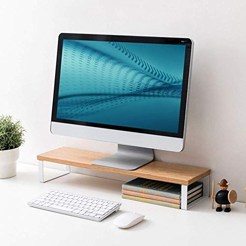 Gaohm Laptop Monitor Stand Mount with Metal Bracket, Wooden Table Top, Desktop Organizer, TV Laptop Printer Stand Holder, Desktop Monitor Screen Riser for Your Home Office,B,M