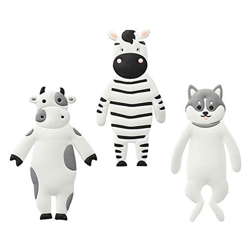 VORCOOL 3 Piezas Ganchos Decorativos para Pared Ganchos de Animales de Dibujos Animados Soporte para Llave Ganchos Adhesivos para Colgar en La Pared (Cebra+ Vaca+ Husky)