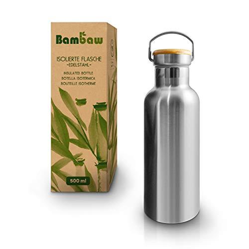 Bambaw Edelstahl Trinkflasche 500 ml   Isolierte Thermosflasche für Sport, Büro, Schule, Outdoor   Auslaufsicher & ohne Plastik   Langlebige Wasserflasche für heiße & kalte Getränke   Metall Flasche