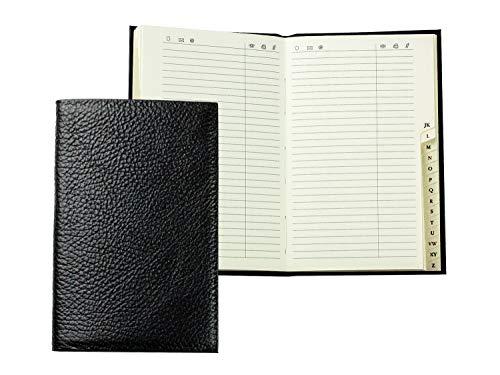 Delon VARONE - Agenda de direcciones personalizable DIN A6, encuadernada con registro A-Z, piel de color negro, mini bolsillos, agenda telefónica en tapa dura y registro alfabético