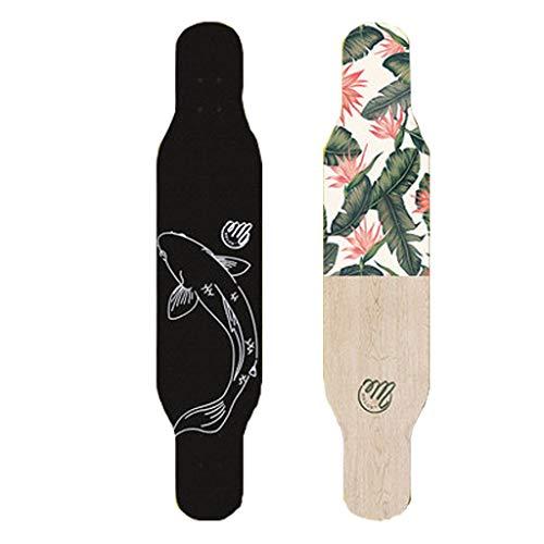 YQQ-MOTION Anfänger Longboard Skateboard Mädchen Jungen Tanzbrett Erwachsene Teenager Kinder Pinsel Street Sports & Outdoors 42 x 10 Zoll 9 Schichten Ahorn