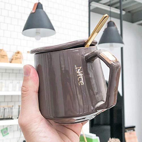 GRK Taza de Papel de Aluminio Dorado de Alta Gama de Estilo nórdico con Tapa Cuchara Café Té Tazas de Leche Café condensado Taza de cerámica Platillo Traje, Marrón