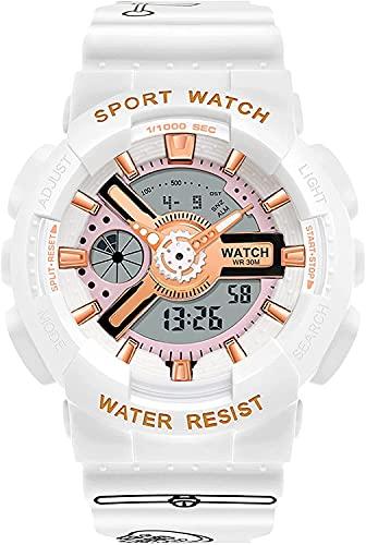 QHG Mujeres Doble exhibición de Relojes electrónicos a Prueba de Agua Reloj a Prueba de Golpes Jingle Gato diseño Reloj Luminoso Deportes Relojes de Pulsera para Dama (Color : White)