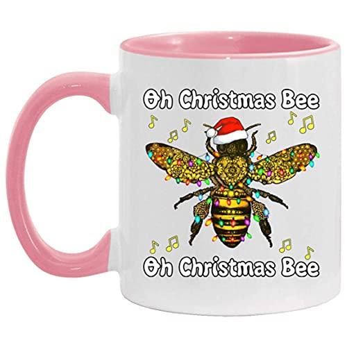 N\A Oh oh Navidad de la Abeja Abeja de Navidad - Santa Abeja - la Abeja Taza Accent, un tamaño, 11 oz Accent Taza/Blanco/Rosa