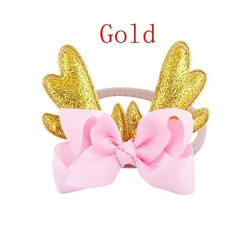 la mode fille mignon les dons costume deer horn, bande de cheveux bébé bandeau fleur, bande de cheveux(Gold)