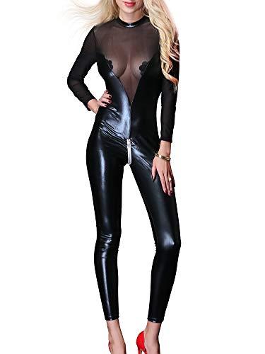 Kaerm Damen Lack Leder Body Sexy Ganzkörper Langarm Latex Ouvert Catsuit Transparent Lang Keyhole Rücken Reißverschluss Im Schritt Einteiler Hydrasuit Badeanzug Schwarz XXL