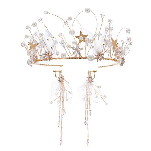 Tiara de novia con diseño de estrella de perlas de cristal con...