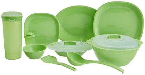 Signoraware Square Dinner Set, 38-Pieces, Parrot Green