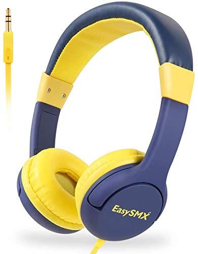 FHW Hoofdtelefoons's Wired kinderen, 85 decibel volume te beperken, geen wirwar van snoeren, 3,5 mm bass stereo telefoon computer notebook headset, for PS4 Xbox One PC (geel en blauw) koptelefoon