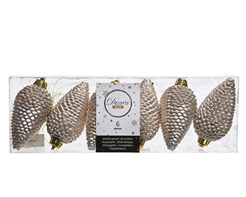 Weihnachtskugeln Zapfen Kunststoff 8cm x 6er Set Champagner // KAE Weihnachtskugeln Kunststoff 8cm Zapfen Perle - Champagner Glanz matt