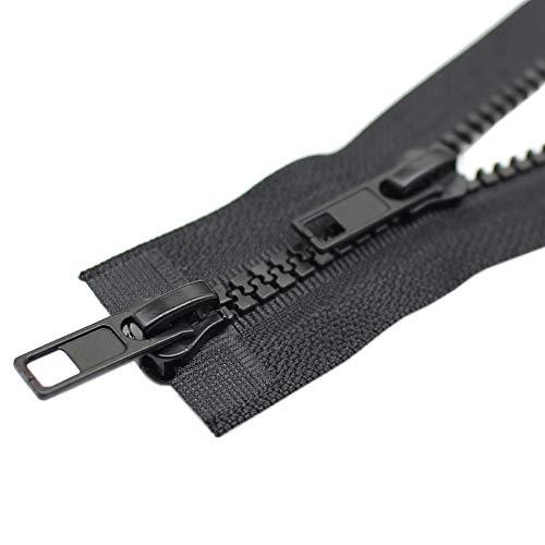 ByaHoGa 2 Stück 200 cm #5 Reißverschluss Kunststoff 2 Wege teilbar Schwarze 5mm Reissverschluss für mantel Jacken (2 Wege)