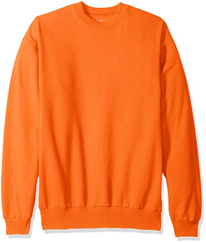 Hanes Men's EcoSmart Fleece Sweatshirt, Safety Orange, Large