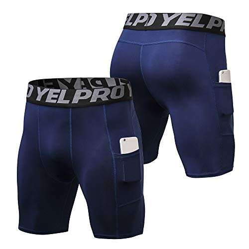 410pzyT0t7L. SS500  - Lixada Men's Compression Shorts Pants Sports Baselayer Tights Active Workout Underwear Leggings with Pockets - - Large