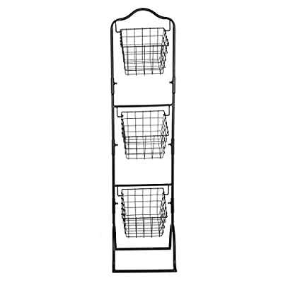 Three-Layer Removable Storage Basket Fruit and Vegetable Display Rack, Home Storage HotSales (Brown), Shipping from The United States