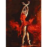 Pintura al óleo de Bricolaje,Pintura por números,Chica de falda roja Pintar por Numeros Adultos Niñost Principiantes, para hogar decoración de casa (sin marco) 40 x 50 cm