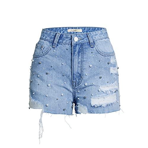 Fainash Pantalones Cortos de Mezclilla para Mujer Tendencia de Cintura Alta Agujeros Rasgados Sexy Ropa de Calle Lavada Pantalones Cortos de Mezclilla básicos deshilachados con Bolsillos L