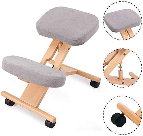 LAL6 Ergonomischer Kniestuhl, Holz Orthopädische Hocker Körperhaltung Rahmen Sitz Health Care, Grau, 46x59x62cm (lxdxh)
