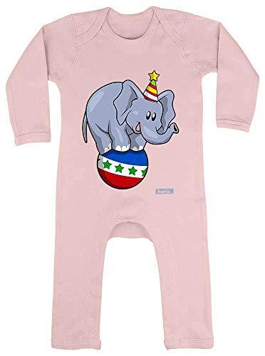 Hariz - Pelele para bebé, diseño de elefante, circo, animales de la jungla, Plus tarjetas de regalo de algodón de azúcar, color rosa, 12 – 18 meses