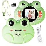COSTWAY 8MP/1080P HD Kinderkamera, Kinder-Videokamera mit Cartoon-Schutzhülle, Digitalkamera mit 1,54 Zoll Bildschirm, inkl. Trageband, 16GB-Speicherkarte für Kinder von 3-10 Jahren (1,54 Zoll / grün)