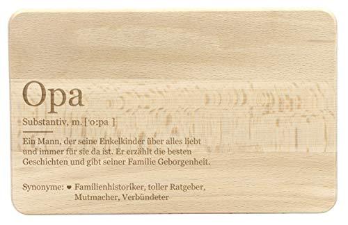 LAUBLUST Frühstücksbrettchen mit Gravur - Lexikon: Das ist Opa - Geschenk für Großvater | ca. 24x15cm, Holz FSC®