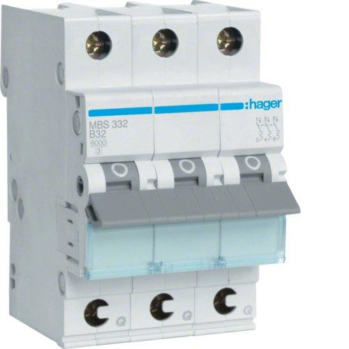 Hager MBS332 - Stromunterbrecher (32 A, 50-60 Hz, B-Type, 3 Modul(e), -25-60 °C, -25-80 °C)