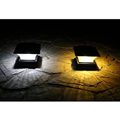 Uonlytech 2Pcs Pós Luzes Movido A Energia Solar À Prova D' Água Em Forma de Quadrado Cerca Post Pilar Da Lâmpada Ao Ar Livre Luz Solar para Jardim Do Pátio Cor Aleatória