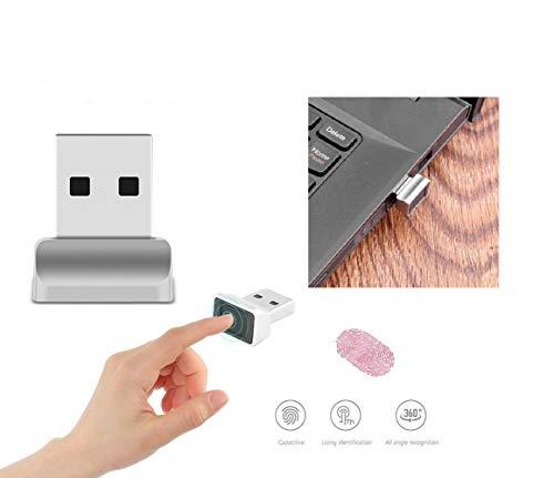SUNJULY USB-Fingerabdruckleser, Fingerabdruckscanner Sensor, Computer-Sicherheits-Anmeldesperre Für Sofortzugriff, Passwortfreie Anmeldung, Anmeldung, Sperren, Entsperren Von PCs Und Laptops, Silber