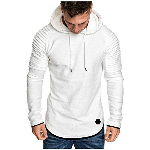 Pull à Capuche FNKDOR Hommes Sweat Long Hoodie Homme Survetement Ensemble Sweat Shirt Noir Pull à Manches Longues Casual Sweat-Shirts Top Blouse SurvêTement(Blanc,XL)