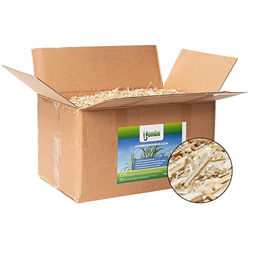 Jumbogras® Rindenmulch-Alternative: Garten-Mulch aus Miscanthus/Chinagras/Elefantengras-Häcksel für Pflegeleichte Gärten/Gartengestaltung/Gartenpflege (70-Liter-Karton)