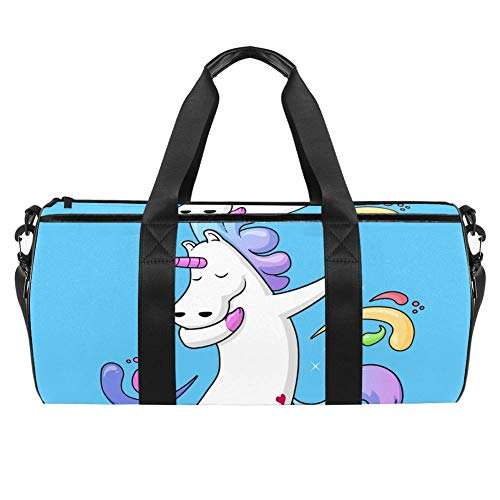 TIZORAX Sports Gym Bag Waterproof Roll Duffel Bag Funny Dabbing Unicorn Dancing Travel Gym Tote Dry Wet Separated Luggage for Women and Men
