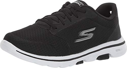 Skechers Damen Go Walk 5 - Lucky Sneaker, Schwarz (Black Textile/White Trim Bkw), 38 EU