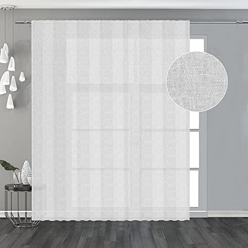 domus&trend Byblos - Cortina blanca con trama ligera y elegante, 100 % lino, bordadas de costura e hilo de plomo, ideal para cualquier ambiente de la casa, fabricada en Italia