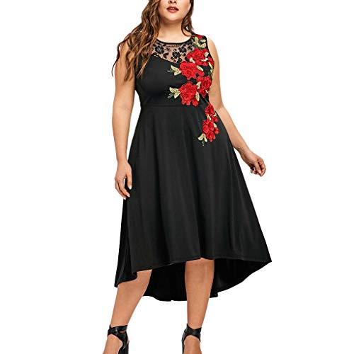 Vestiti Lungo Donna Taglie Forti Donne Elegante Abito da Cerimonia Sera Lungo Schienale Fascia Vestito Senza Maniche Estivo Casual Floreale Fiori Fantasia Dress