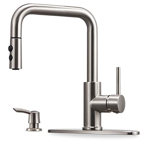 Kitchen Faucet with Pull Down Sprayer and Soap Dispenser Single Handle Stainless Steel Brushed Nickel High Arc Pull Out Kitchen Sink Faucets with Deck Plate