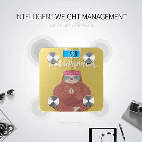 Cute Cartoon Sloth in Yoga Pose Bluetooth Weight Scale Smart Body Fat Scale Best Weight Scale Tracks 8 Key Compositions Analyzer Sync with Fitness Apps 400 Lbs