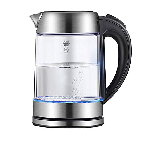 YVX Eco Glass Electric Kettle, 1.7L Cordless Water Kettle with Blue LED Illuminated, Fast Boil Tea Water Kettle, Auto Shut-Off & Boil-Dry Protection, Stainless Steel Inner Lid & Bottom, 18