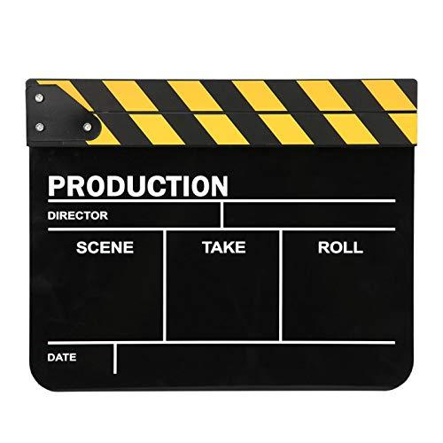 Claqueta de acrílico de 30 x 25 cm, aplauso de acción profesional de director, herramienta de fotografía, imán incorporado, para juegos de roles, producción de video, película(Pizarra barra amarilla)