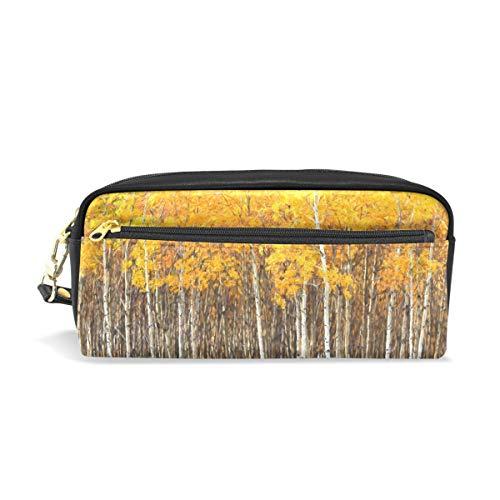 Stifteetui, Motiv: Aspen Trees, Gelb, für Kinder, große Kapazität, für Make-up, Kosmetik, Büro, Reisetasche