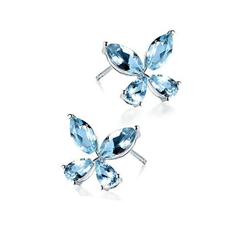 Daesar Pendientes de Mujer Plata Azul Pendientes de Oro Blanco 18 Kilates Flor Aguamarina Azul Claro 2.04ct