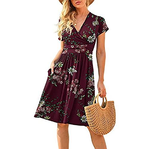 Dreamsy2019 Vestido de verano para mujer, manga corta, hasta la rodilla, estampado casual, túnica, con bolsillos. Rojo vino. 3XL
