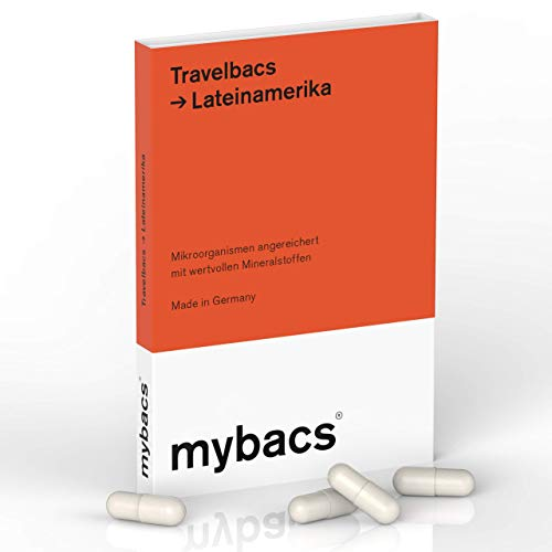 Travelbacs: Verdauung im Einklang auf Reisen in Lateinamerika | 11 spezifisch ausgewählte Bakterienkulturen [37.5 Milliarden KbEs] | 10 Kapseln | von mybacs