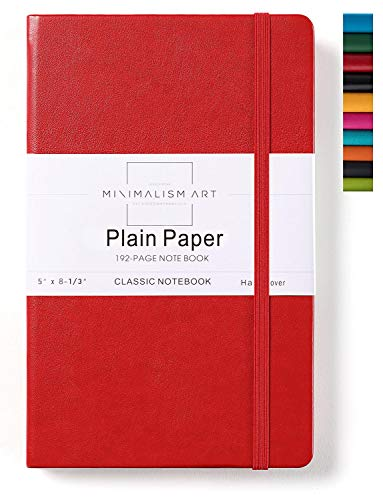 Minimalism Art, Classic Notebook Journal, A5 Size 5 X 8.3 inches, Red, Plain Blank Page, 192 Pages, Hard Cover, Fine PU Leather, Inner Pocket, Quality Paper-100gsm, Designed in San Francisco