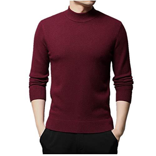 Autunno e inverno maglione degli uomini tinta unita manica lunga versatile mezzo collo alto lavorato a maglia camicia fondo Rosso L